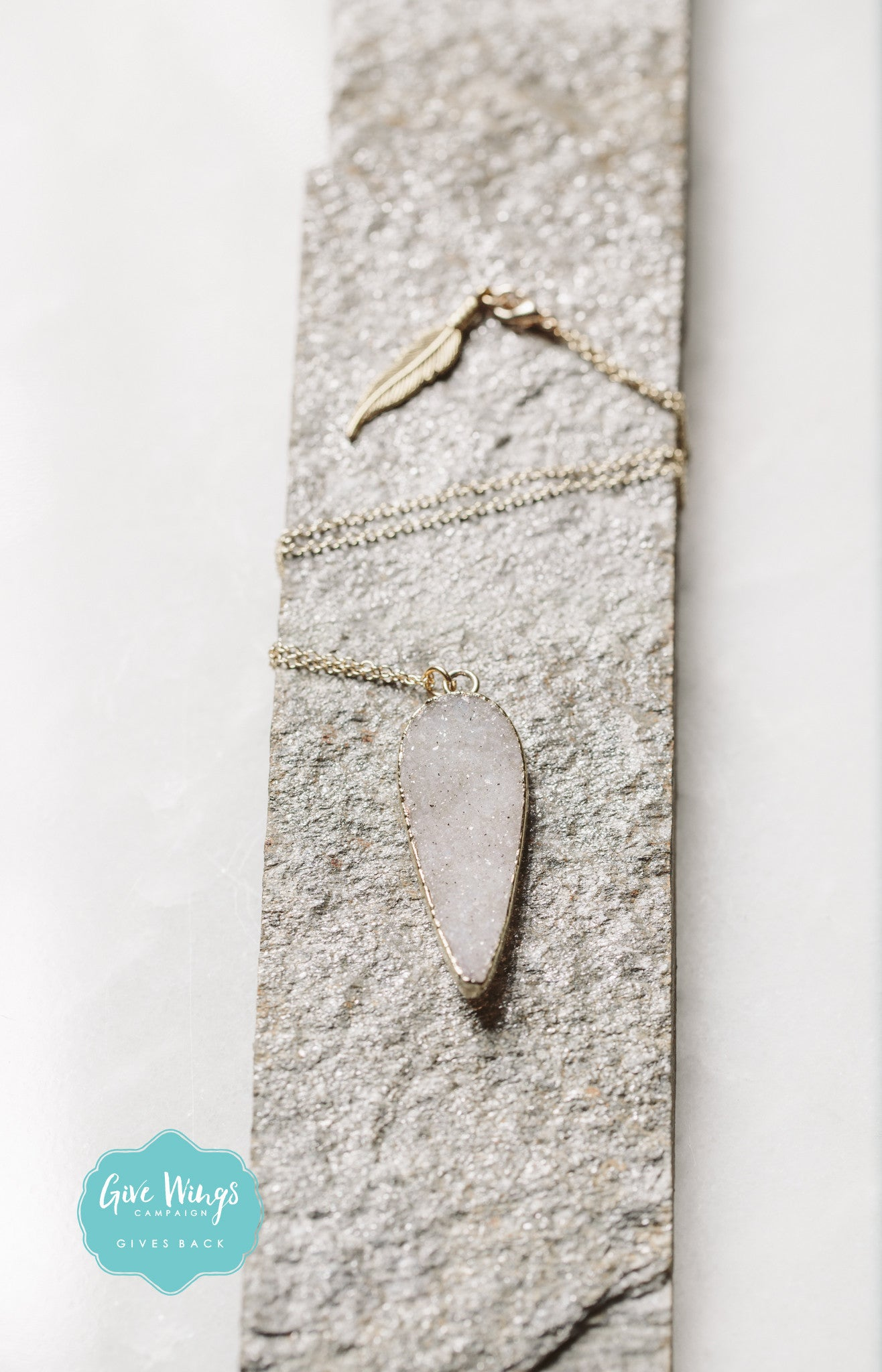 TESS Druzy Tear Drop Necklace