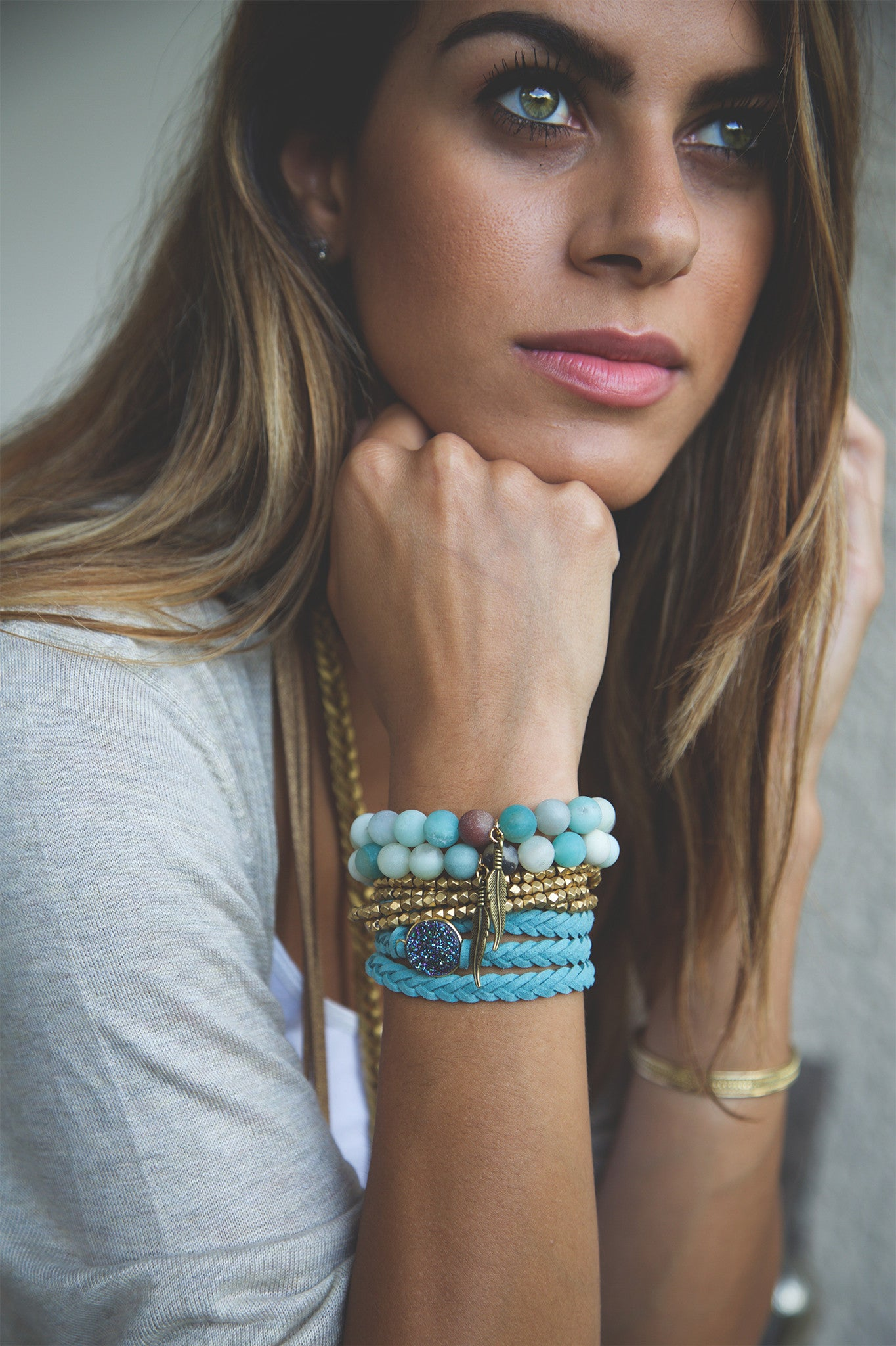 Braided Leather Wrap Eternity Bracelets - Turquoise
