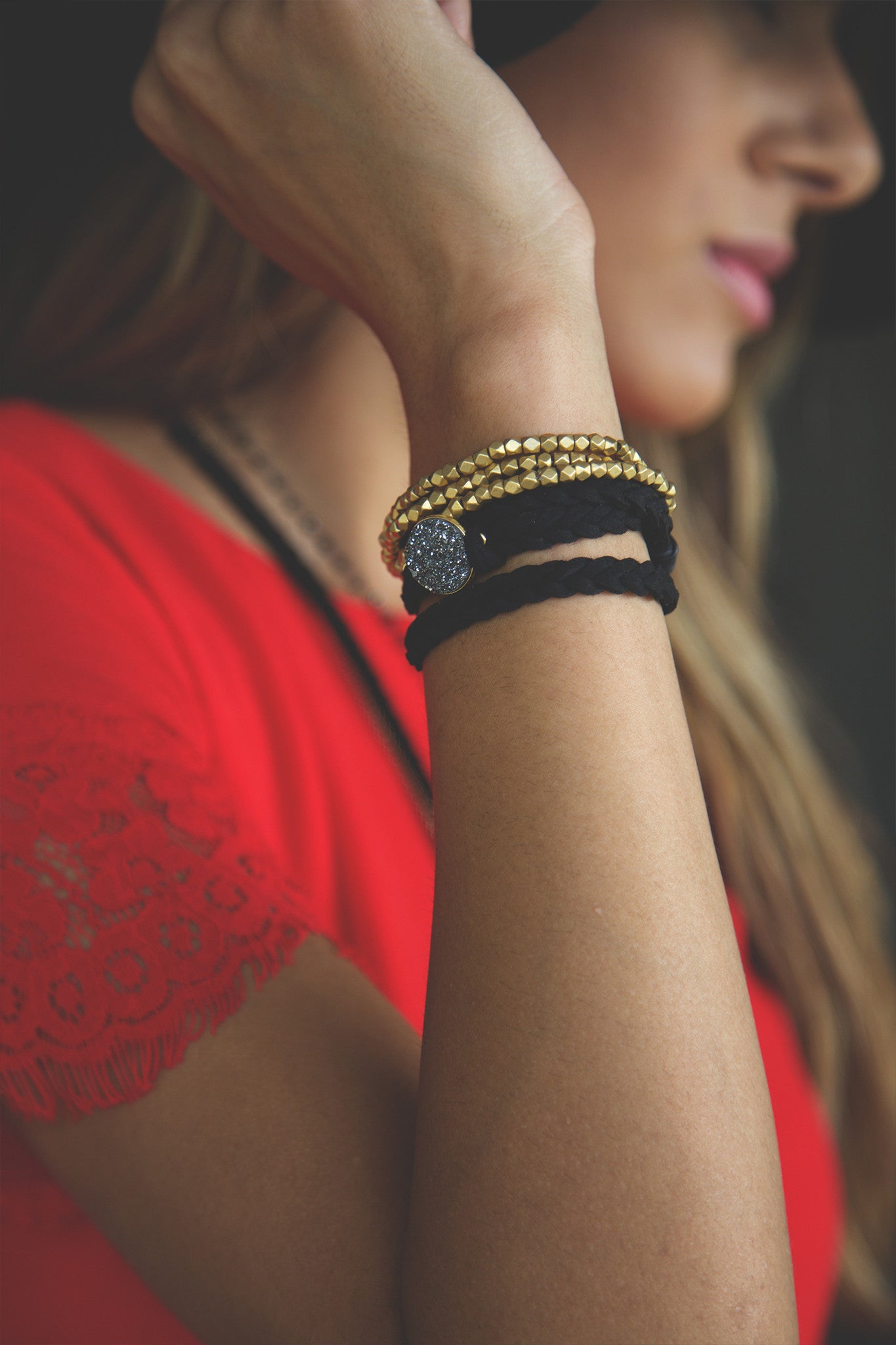 Braided Leather Wrap Eternity Bracelets - Black on Black