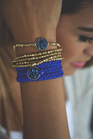 Braided Leather Wrap Eternity Bracelets - Royal Blue