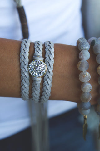 Braided Leather Wrap Eternity Bracelets - Silver