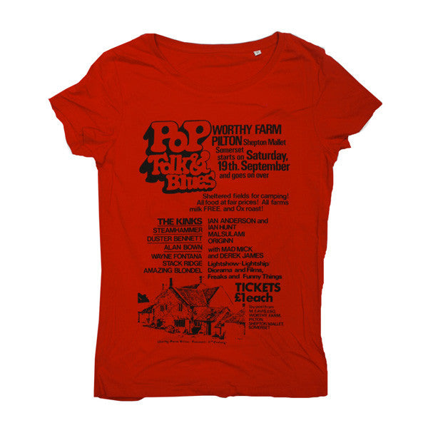 1970 Glastonbury Poster T-shirt (Womens)
