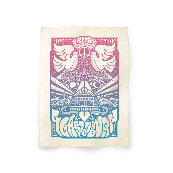 GLASTONBURY PEACE ON EARTH NATURAL TEA TOWEL