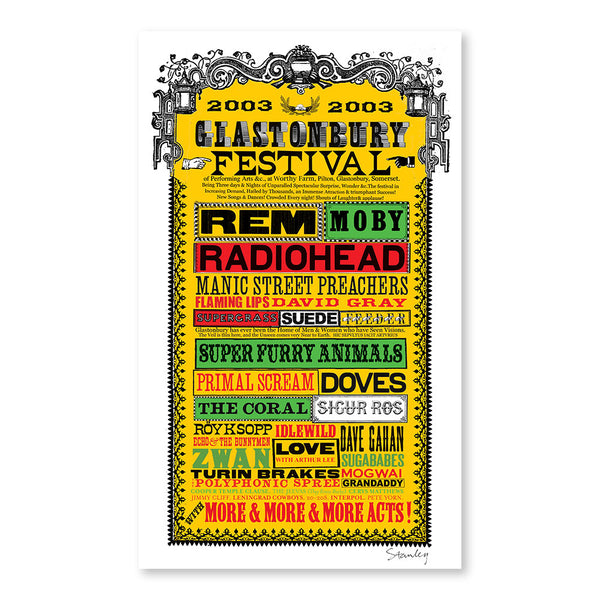 2003 Stanley Donwood Line-Up Poster