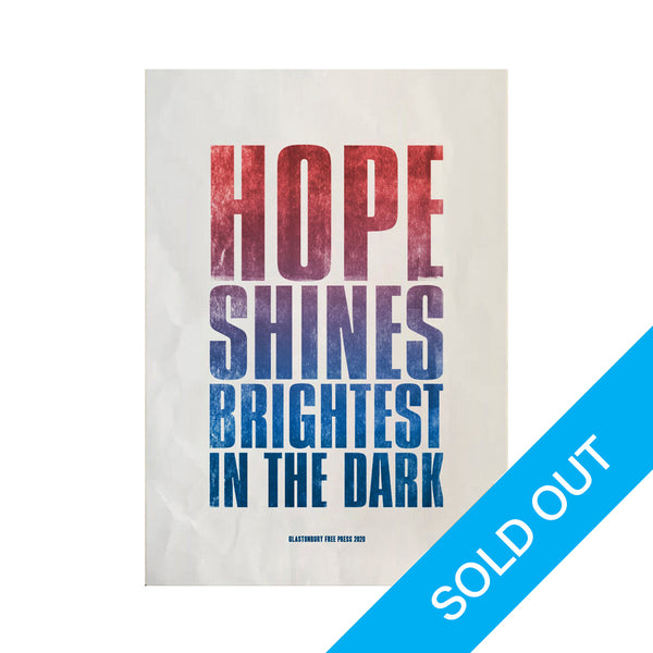 FREE PRESS 2020 'HOPE SHINES BRIGHTEST' CHARITY SLOGAN POSTER
