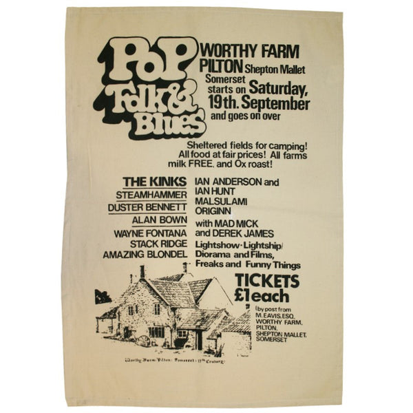 1970 Glastonbury Poster Tea Towel