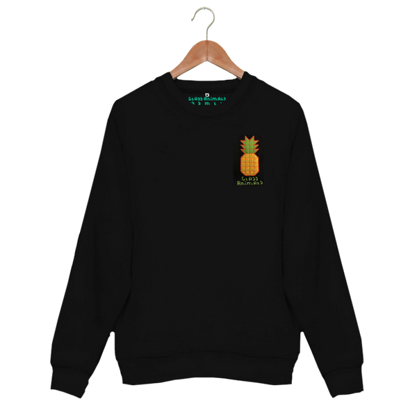 EMBROIDERED PINEAPPLE BLACK SWEATSHIRT