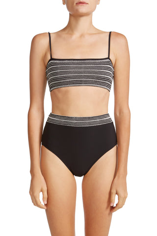 High Waist Bikini Bottom with Smocked Band in Black