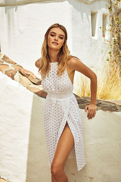Amara Dress in White Eyelet
