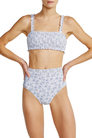 High waist bottom in white floral