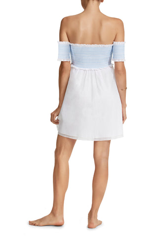 Aya Off-Shoulder Tunic in White/Pale Blue