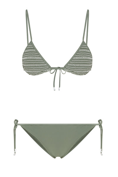 Bella Triangle Bikini in Khaki/White