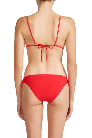 Bella Smocked Triangle Bikini Top in Red
