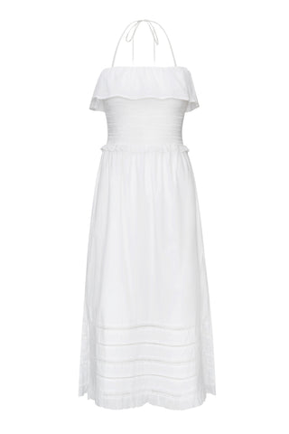 Damaris Smocked Dress in White