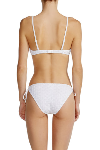 Skinny Tie Bottom in White Eyelet