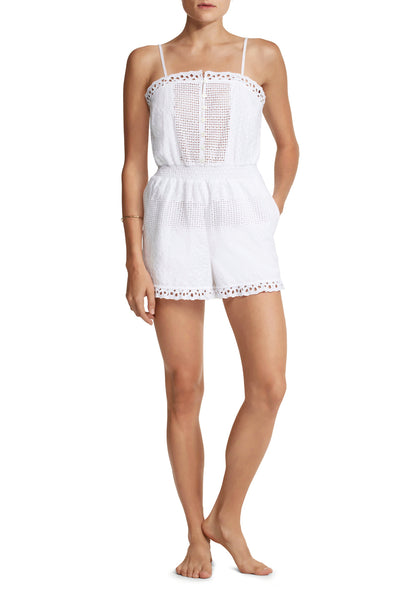 Elinor Romper in White Eyelet