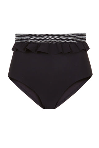 High Waist Ruffle Bikini Bottom in Black