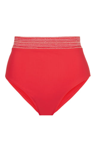 High Waist Bikini Bottom with Smocked Band in Red