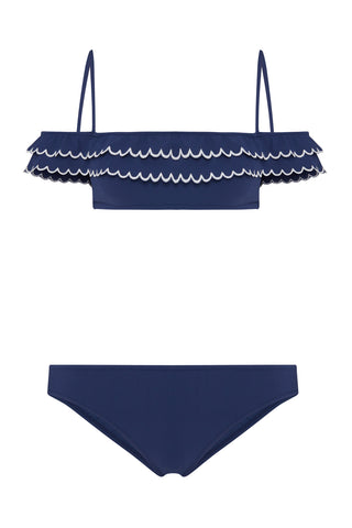 Issa Off-Shoulder Bikini in Navy