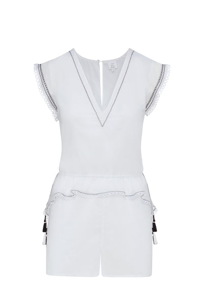 Lian Embroidered Cotton Romper