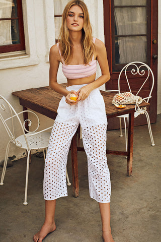 Xenia Pant in White Eyelet