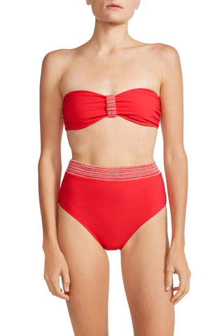 High Waist Bottom with Smocked Band in Red