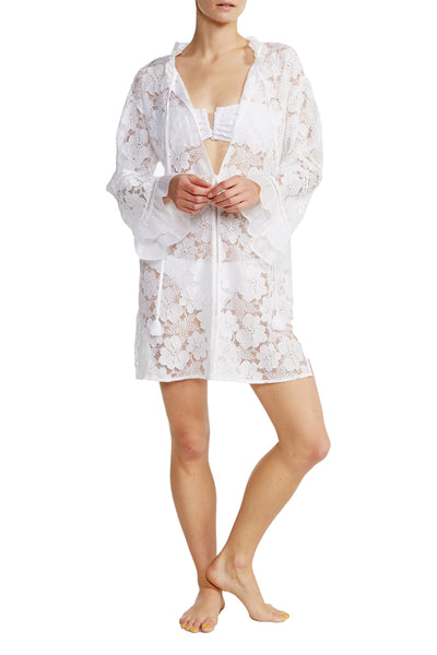 Petra Lace Tunic in White Lace