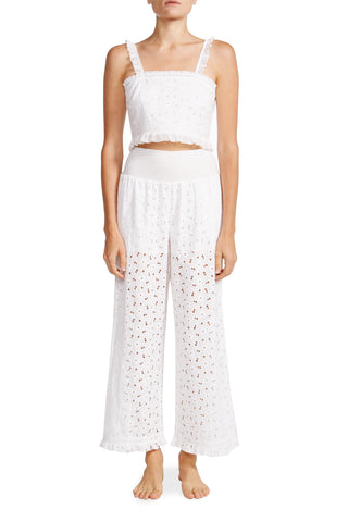 Romy Crop Top in White Eyelet