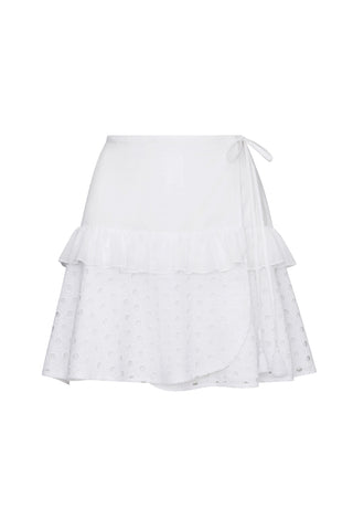 Shirley Wrap Skirt in White Eyelet