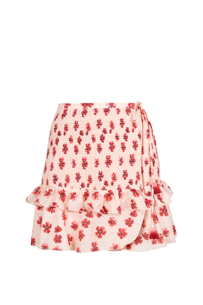 Shirley Wrap Skirt in Pink Floral