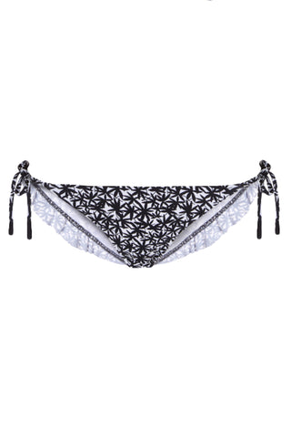 Skinny Tie Bikini Bottom in Black and White