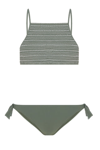 Terez Crop Top Bikini in Khaki/White