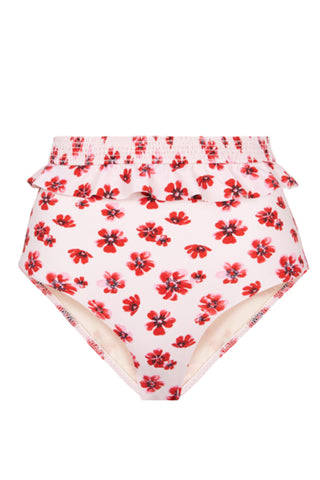 High Waist Ruffle Bottom in Pink Floral