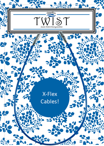 ChiaoGoo TWIST Blue X-Flex Cables 5 cm - 20 cm - WOOLS OF NATIONS