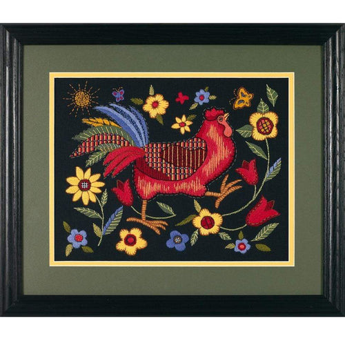 Dimensions - Rooster On Black Cross Stitch Kit - WOOLS OF NATIONS