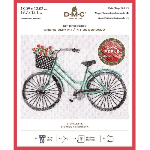 DMC - Bicycle 3D Effect Embroidery Kit - WOOLS OF NATIONS