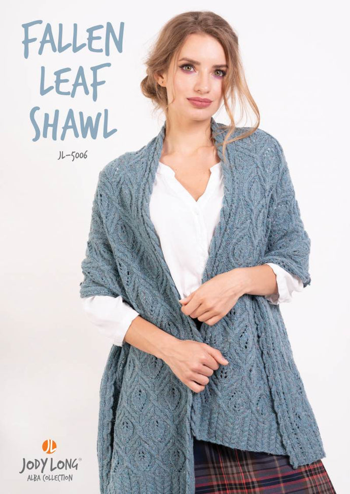 Jody Long Fallen Leaf Cable & Lace Shawl (PDF) - WOOLS OF NATIONS