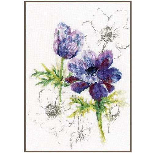 Lanarte Blue Anemones Cross Stitch Kit - WOOLS OF NATIONS