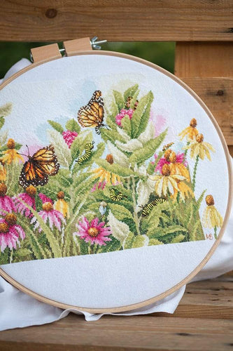 Lanarte Butterflies & Coneflowers Cross Stitch Kit - WOOLS OF NATIONS