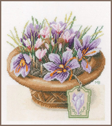 Lanarte Crocus Flowers Cross Stitch Kit - WOOLS OF NATIONS