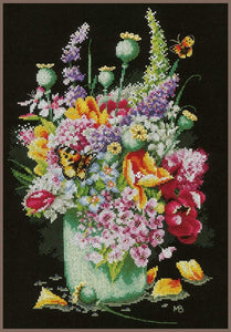 Lanarte Flower Power Bouquet Cross Stitch Kit - WOOLS OF NATIONS