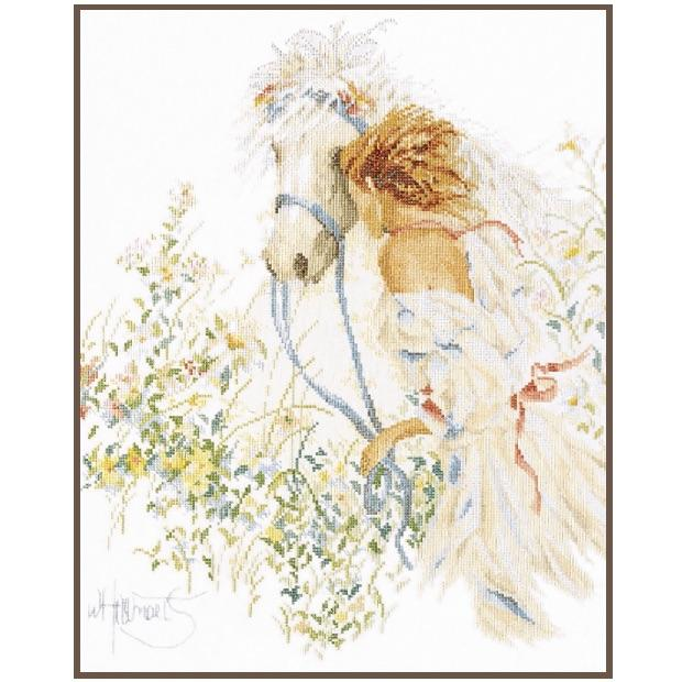 Lanarte Horse & Flowers Cross Stitch Kit - WOOLS OF NATIONS