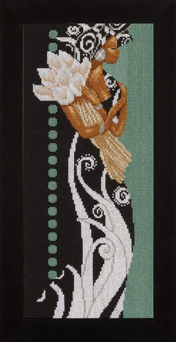 Lanarte Lady With Flowers Cross Stitch Kit - WOOLS OF NATIONS