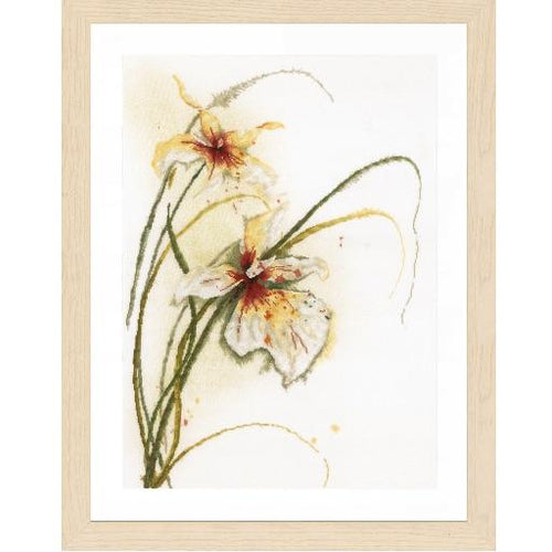 Lanarte Orchid Flower Cross Stitch Kit - WOOLS OF NATIONS
