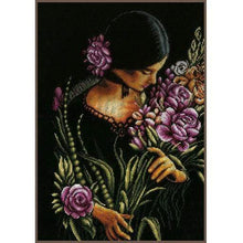 Load image into Gallery viewer, Lanarte Woman & Flowers Cross Stitch Kit - WOOLS OF NATIONS