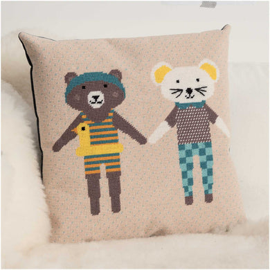 Rico Design Bear & Mouse Gobelin Cushion Cross Stitch Kit - WOOLS OF NATIONS