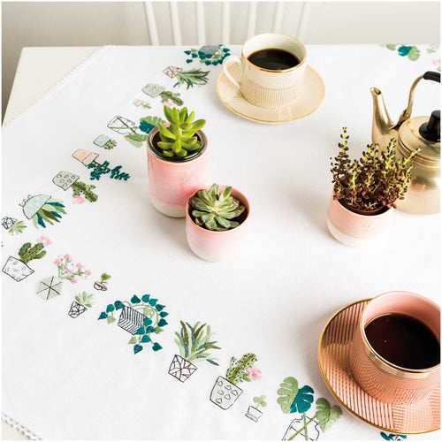 Rico Design Cacti Tablecloth Embroidery Kit 95 x 95 cm - WOOLS OF NATIONS