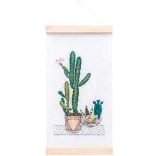 Load image into Gallery viewer, Rico Design Cacti Wall Hanging Cross Stitch Kit - WOOLS OF NATIONS