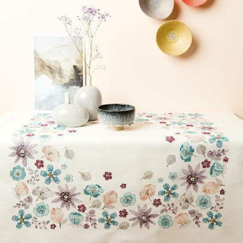 Rico Design Flowers Tablecloth Embroidery Kit - WOOLS OF NATIONS
