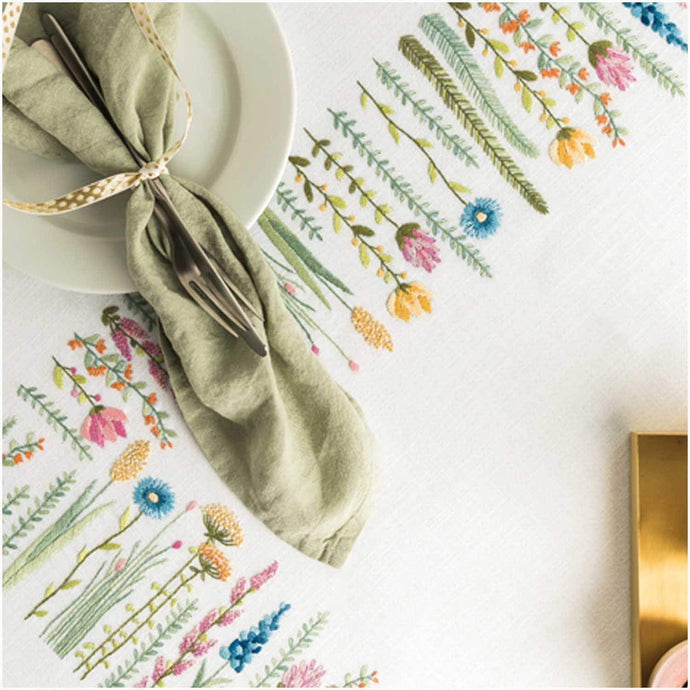 Rico Design Herbal Meadow Tablecloth Embroidery Kit 90 x 90 cm - WOOLS OF NATIONS